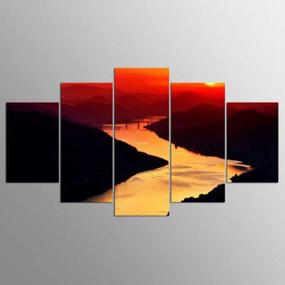 YSDAFEN 5 Panel Modern A Warm Sunrise Canvas Art for Living Room Wall Picture