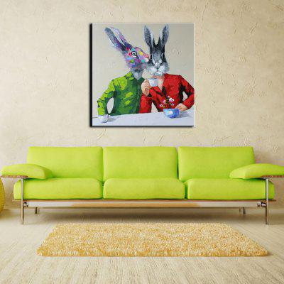 YHHP Hand Painted Animal Canvas Oil Painting Office Rabbit