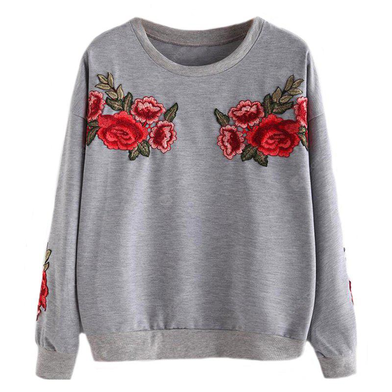 Women's Stylish Round Neck Rose Embroidery Long-Sleeved T-Shirt