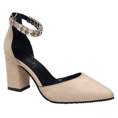 New Summer Fashion All-Match Pointed Hollow Thick Heeled Suede Shallow Mouth