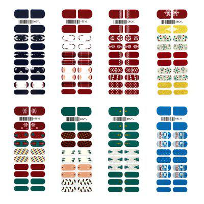 8Pcs Style Christmas Waterproof Non-toxic Nail Sticker Decoration  Manicure Accessories