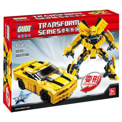 2 in 1 Kids Educational Toy Building Bricks Transforms Into Car Or Robot Gift
