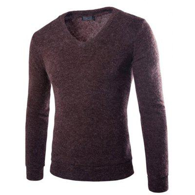 Man V Neck Sweater with Long Sleeves