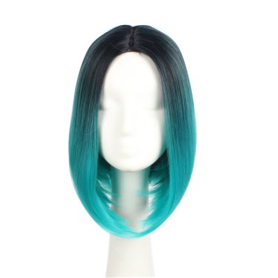 Ombre Green Color Straight Short Bob Haircut Synthetic Hair Cosplay Costume Party Wig For Girls