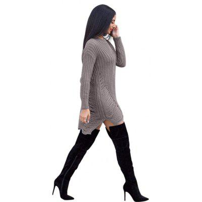 Buy GRAY L Knit Women'S Long-Sleeved Sweater Thin Long Paragraph Loose Hedging Bandage Dress for $28.48 in GearBest store