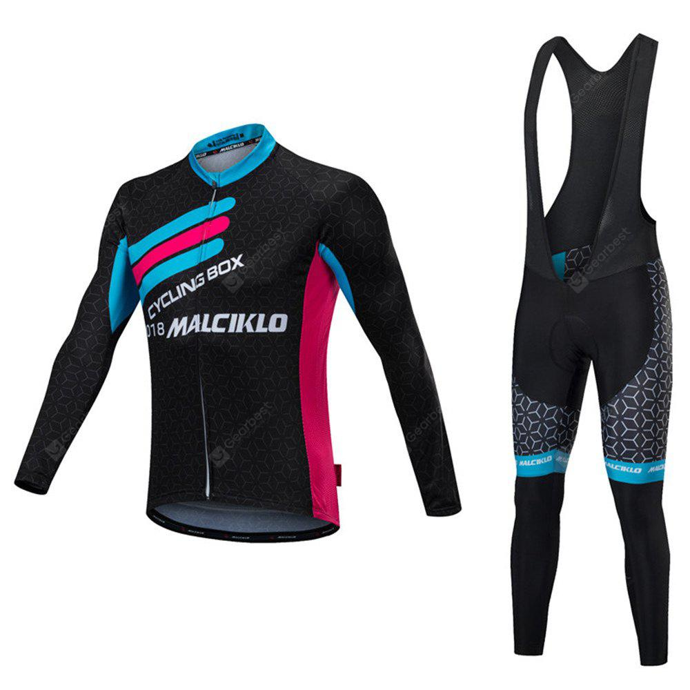 Malciklo 18 Cycling Jersey Winter Warm with Bib Tights Men Long Sleeves Bike Compression Suits Quick Dry