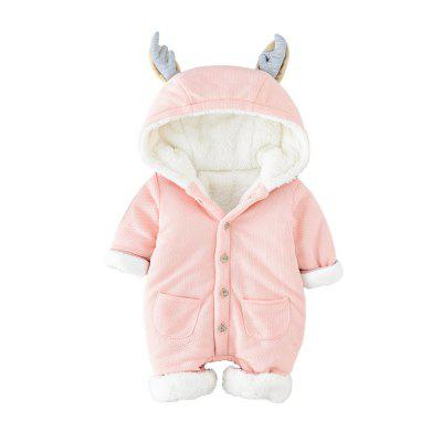 Newborn Baby Clothes Winter Rompers Infant Girls Boys Clothes Long Sleeves Hooded MD160D053