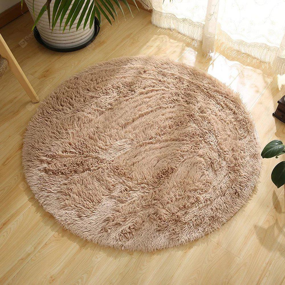LIGHT BROWN 100X100CM Round Rug Simple Solid Design Multipurpose Floor Mat