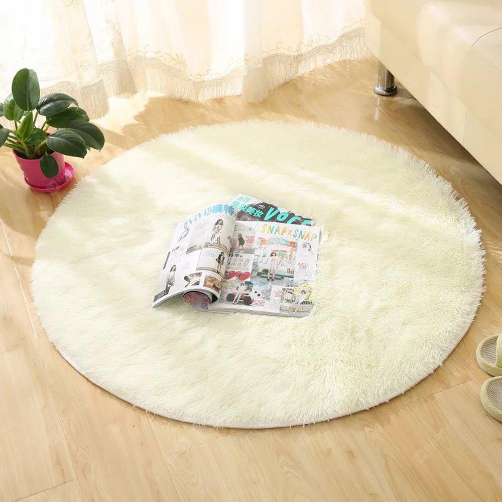 WHITE 80X80CM Round Rug Simple Solid Design Multipurpose Floor Mat