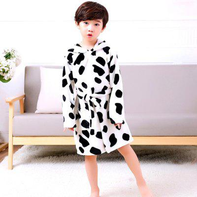 Children bathrobes printing flannel nightdress baby nightdress boys and girls home service