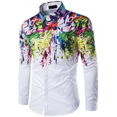 New Mens Long Sleeve Shirt Lapel Flowers Splashed Ink Paint C216