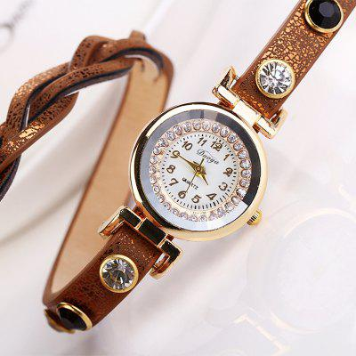 DUOYA D019 Womens Around 3th Rhinestone Braided Belt Leather WatchWomens Watches<br>DUOYA D019 Womens Around 3th Rhinestone Braided Belt Leather Watch<br><br>Band material: PU<br>Band size: 58x0.1 CM<br>Case material: Metal<br>Clasp type: Belt dark buckle<br>Dial size: 2.5x2.5x0.7 CM<br>Display type: Analog<br>Movement type: Quartz watch<br>Package Contents: 1xWATCH<br>Package size (L x W x H): 23.00 x 5.00 x 3.00 cm / 9.06 x 1.97 x 1.18 inches<br>Package weight: 0.0320 kg<br>Product size (L x W x H): 58.00 x 2.50 x 0.70 cm / 22.83 x 0.98 x 0.28 inches<br>Product weight: 0.0300 kg<br>Shape of the dial: Round<br>Watch mirror: Mineral glass<br>Watch style: Classic, Childlike, Fashion, Casual<br>Watches categories: Women,Female table<br>Water resistance: No