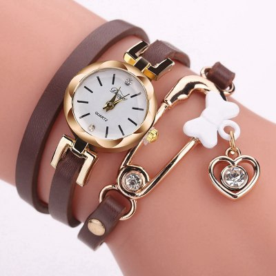 DUOYA D205 Women Circle Leather Bracelet Quartz Watch