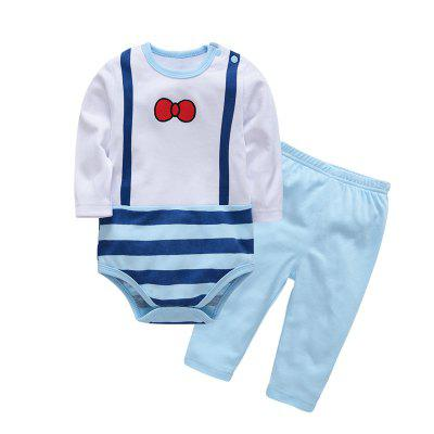 Buy LIGHT BLUE 3M Wuawua Baby Clothing Cotton Two-piece Triangle Romper Gentleman Style Outfits Clothes for $21.60 in GearBest store