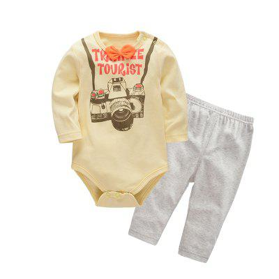 Wuawua Baby Clothing Boys Cotton Two-piece Triangle Romper