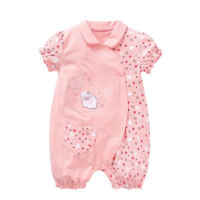 Wuawua  Cotton Print Bodysuit  Outfits Baby Jumpsuit princess Style
