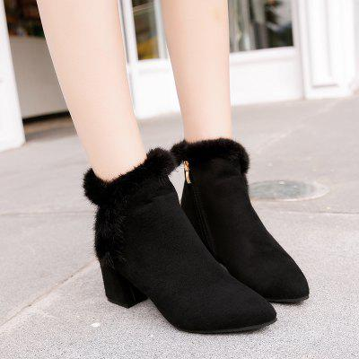 Frosted Face Plush Comfort Square and Ankle BootWomens Boots<br>Frosted Face Plush Comfort Square and Ankle Boot<br><br>Boot Height: Ankle<br>Boot Type: Fashion Boots<br>Closure Type: Zip<br>Embellishment: Fur<br>Gender: For Women<br>Heel Height: 6.5cm<br>Heel Height Range: Med(1.75-2.75)<br>Heel Type: Chunky Heel<br>Insole Material: PU<br>Lining Material: Cotton Fabric<br>Outsole Material: Rubber<br>Package Contents: 1xShoes(pair)<br>Pattern Type: Others<br>Season: Winter<br>Toe Shape: Pointed Toe<br>Upper Material: Flock<br>Weight: 1.5000kg