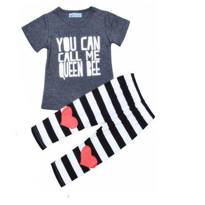 SOSOCOER  Kids Girls Clothes Set Gray Letter T - Shirt + Love Striped Pants Two Piece