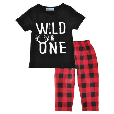 SOSOCOER Kids Boys Clothes Set Short Sleeved T - Shirt + Lattice Pants Two Piece