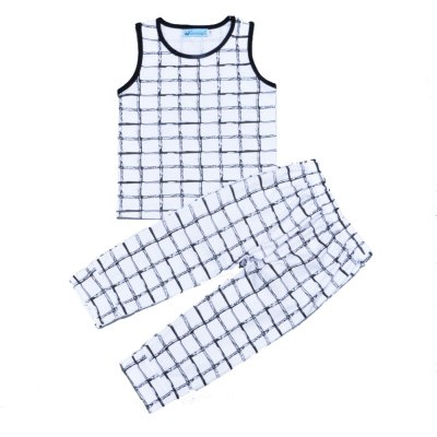 SOSOCOER Kids Boys Summer Clothes Set Lattices Printing Sleeveless T - Shirts and Pants Two Pieces