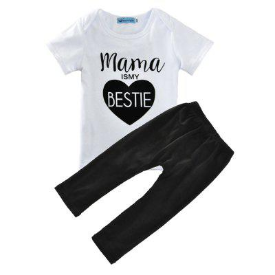 SOSOCOER Kids Summer Clothes Set Love Letter T - Shirt + Pants Two Suit