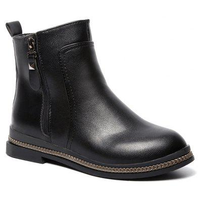 Casual Fashion Side Zipper Pure Color Low Heel Increase Round Head Boots