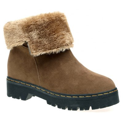 Buy ZSN812-1 Winter Cashmere Warmth Simple Comfort Wearproof and Antiskid Shoe Sole Pure Color Round Snow Boots LIGHT BROWN 37 for $31.89 in GearBest store