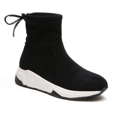 TYM8188 Winter Shoes with Velvet Front Tie Solid Short Tube Flat with Fashion Leisure Shoes