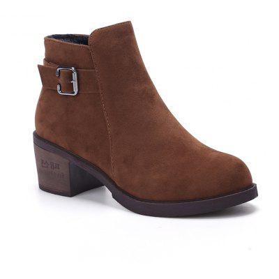 ATM1781 Spring Shoes with Leather Velvet Matte Comfortable Leisure Solid in Cylinder with Martin Boots