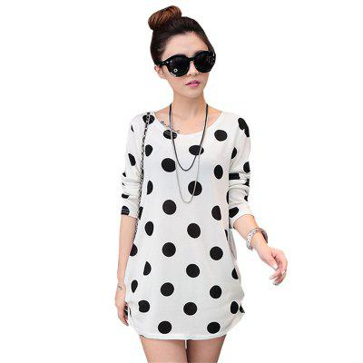 Women's Fashion White Wave Point Printing Loose Long-Sleeved T-Shirt