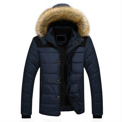 Buy CERULEAN XL Winter Casual Outdoor Thicken Warm Plus Size Furry Hooded Jacket Coat for Men for $90.91 in GearBest store
