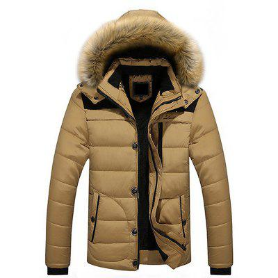 Buy KHAKI XL Winter Casual Outdoor Thicken Warm Plus Size Furry Hooded Jacket Coat for Men for $90.91 in GearBest store