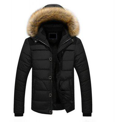 Buy BLACK XL Winter Casual Outdoor Thicken Warm Plus Size Furry Hooded Jacket Coat for Men for $90.91 in GearBest store