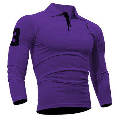 Buy Fashion Deer Embroidery Polo Shirt Turndown Collar Long Sleeve Spring Fall Casual T-Shirt PURPLE 2XL for $13.18 in GearBest store