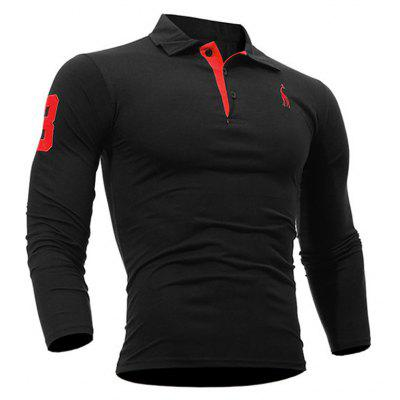 Buy Fashion Deer Embroidery Polo Shirt Turndown Collar Long Sleeve Spring Fall Casual T-Shirt BLACK XL for $13.18 in GearBest store