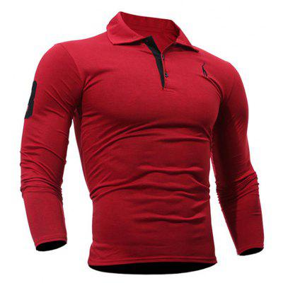 Buy Fashion Deer Embroidery Polo Shirt Turndown Collar Long Sleeve Spring Fall Casual T-Shirt RED 3XL for $13.18 in GearBest store