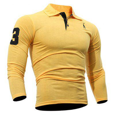 Buy Fashion Deer Embroidery Polo Shirt Turndown Collar Long Sleeve Spring Fall Casual T-Shirt DAISY L for $13.18 in GearBest store