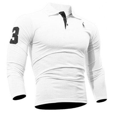 Buy Fashion Deer Embroidery Polo Shirt Turndown Collar Long Sleeve Spring Fall Casual T-Shirt WHITE M for $13.18 in GearBest store