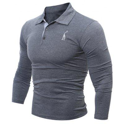 Buy Fashion Deer Embroidery Polo Shirt Turndown Collar Long Sleeve Spring Fall Casual T-Shirt GRAY 3XL for $13.18 in GearBest store