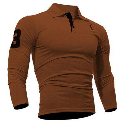 Buy Fashion Deer Embroidery Polo Shirt Turndown Collar Long Sleeve Spring Fall Casual T-Shirt BROWN 3XL for $13.18 in GearBest store