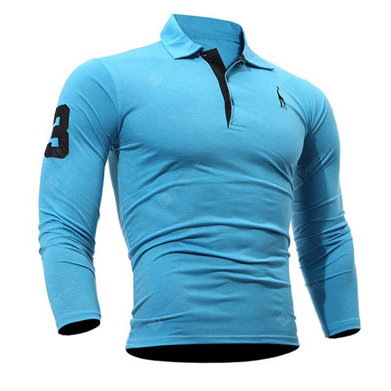 Fashion Deer Embroidery Polo Shirt Turndown Collar Long Sleeve Spring Fall Casual T-Shirt WINDSOR BLUE 2XL
