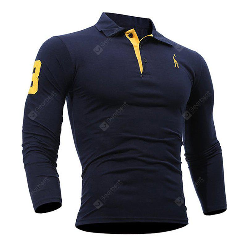 Fashion Deer Embroidery Polo Shirt Turndown Collar Long Sleeve Spring Fall Casual T-Shirt CADETBLUE 3XL
