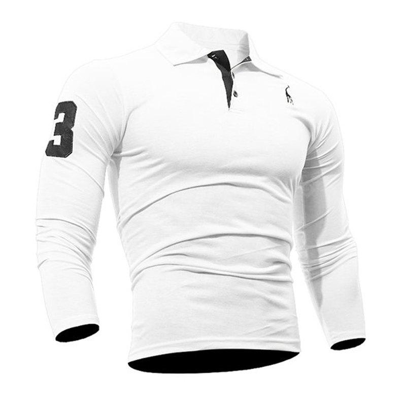 Fashion Deer Embroidery Polo Shirt Turndown Collar Long Sleeve Spring Fall Casual T-Shirt WHITE 3XL