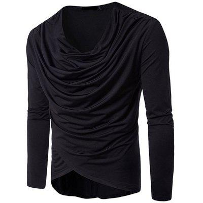 Stylish Solid Color Irregular Tops Pile Heap Collar Long Sleeve Casual Cotton T-shirt