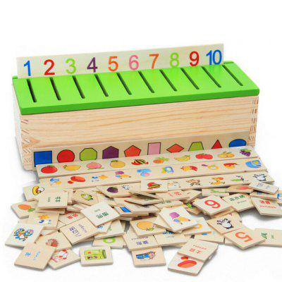 Montessori Puzzle Learning Knowledge Classification Box Wooden Educational Toys