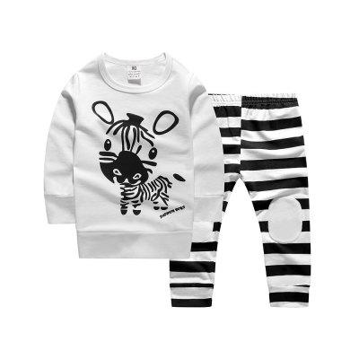 Baby Boys Girls Zebra Pattern Tops + Pants Two-piece Outfit Sets