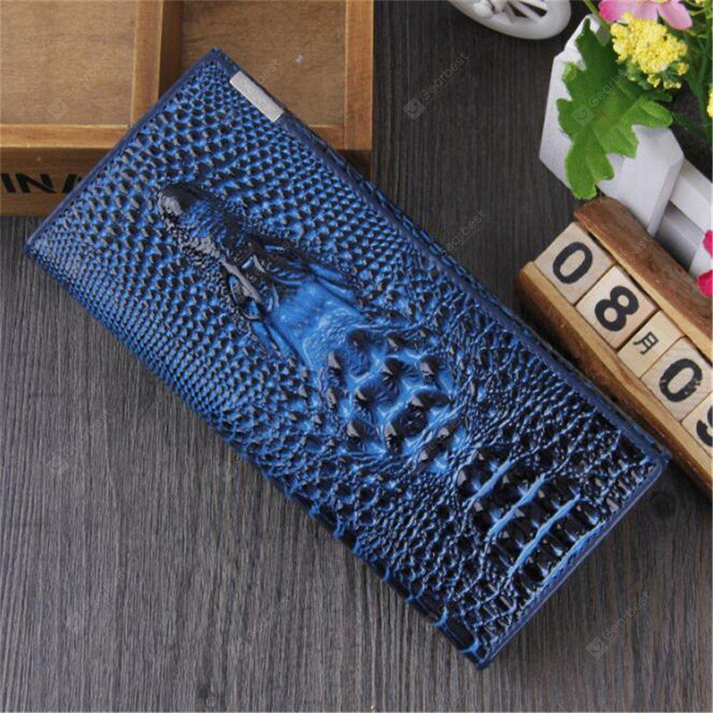 New Women Wallet Hasp Coin Purses Holders Brand Genuine Leather 3D Embossing Alligator Ladies Crocodile Long Clutch Wall BLUE