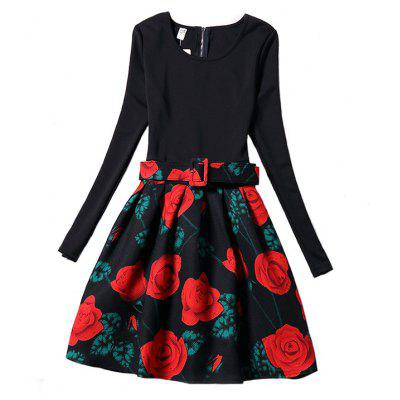 Buy BLACK M Women'S Rose Floral Print Stitching Vintage Dresses for $38.73 in GearBest store
