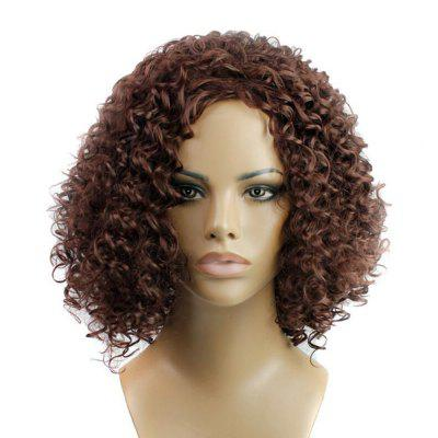Dark Brown Short Kinky Curly Anime Party Cosplay Full Wig For Hallween and Christmas