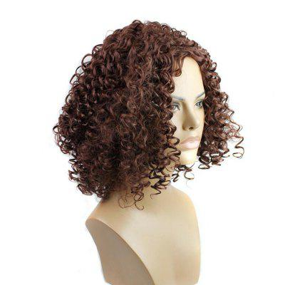 Dark Brown Short Kinky Curly Anime Party Cosplay Full Wig For Hallween and Christmas puella magi madoka magica tomoe mami gold short cosplay wig free two ponytails